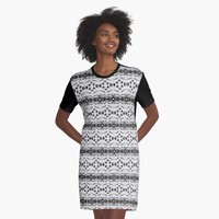 'Elegant Black And White Pattern' Graphic T-Shirt Dress by Dizzydot