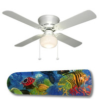 "Tropical Fish Coral Reef 42"" Ceiling Fan and Lamp"