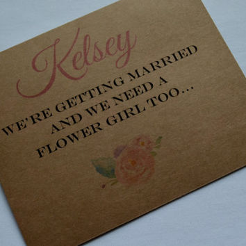 Will you be my flower girl PERSOLIZED NAME FLOWER girl card bridal cards wedding party card custom name flower girl card kraft flower card