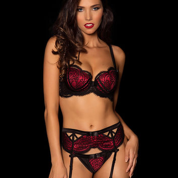 Sophia Sin Black & Red Suspender Set – Honey Birdette