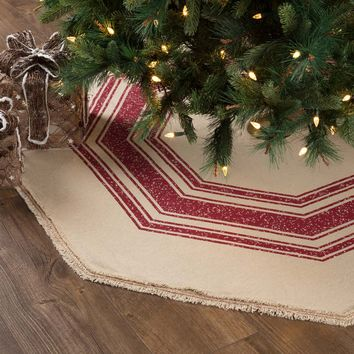 Vintage Burlap Red Stripe Tree Skirt - 4 sizes