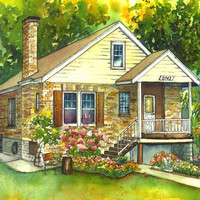 Watercolor House Painting or Your Home Custom by maryfrancessmith