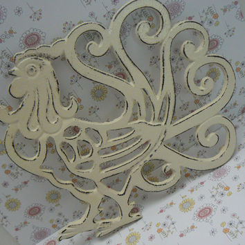 Rooster Cast Iron Trivet Hot Plate Cream Off White Distressed Shabby Chic Ornate Swirled Tail Rooster Farm House Country Chic Kitchen Decor