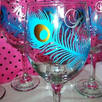 Peacock Wedding Glasses. Set Of 4. on Luulla