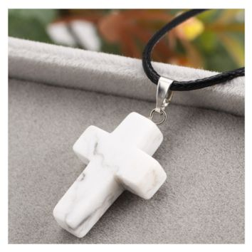 White Turquoise Natural Stone Cross Pendant Necklace for Women