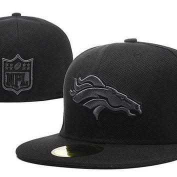 Denver Broncos New Era 59fifty Nfl Football Cap All Black