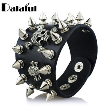 Unique Rock Spikes Rivet Gothic Skeleton Skull Punk Biker Wide Cuff Leather Bracelet