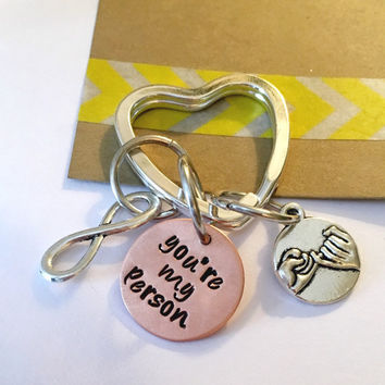 You're My Person Key Chain Best Friend Gift, Hand Stamped My Person Key Chain, Best Friends Gift, Best Friends Keychain