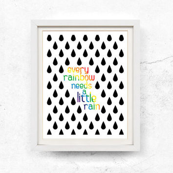 Rainbow print, Inspirational Quote, Printable wall art, Black & white, Wall art printable, woodland, Quote print, Download, 8x10, 11x14