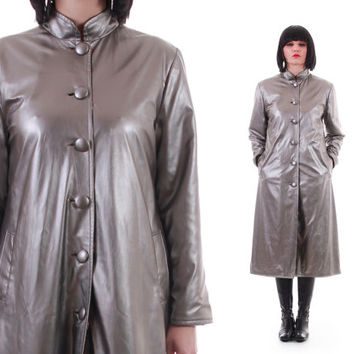 Silver Metallic PVC Futuristic Y2K Long Fitted Coat Butterfly Satin Interior Unique 80s 90s Vintage Clothing Womens Size Medium