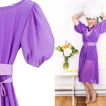 Purple Sheer Dress 70s Vintage 1970s Lantern Half Sleeve Belt NewYear Dress