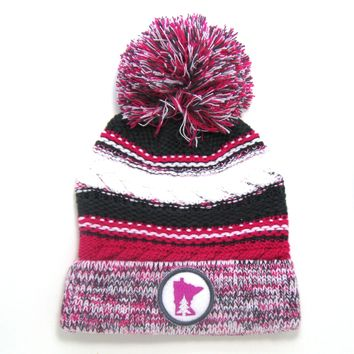 Chunky Knit Pom Pom Beanie - Minnesota gray and pink