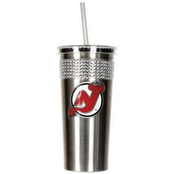 ICIKU3N NHL New Jersey Devils Stainless Steel Bling Tumbler with Straw
