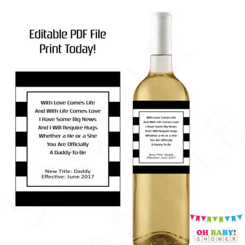 Pregnancy Reveal to Husband. Printable Wine Label Pregnancy Announcement Wine Label Editable Daddy To Be Husband Baby Reveal Ideas Custom