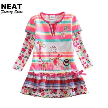 Retail Girls Dresses Neat Kid Baby Stripe Roupa Infantil Dress 3-7Y Child Clothes Girls Deer Elephant Flower Dresses L323