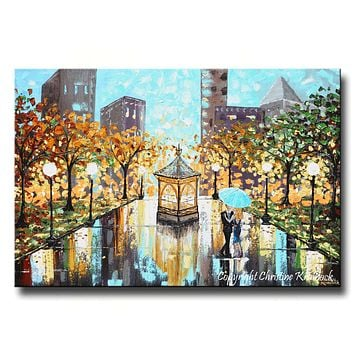 GICLEE PRINT Art Abstract Painting Couple Blue Umbrella City Park Canvas Prints sizes to 60""
