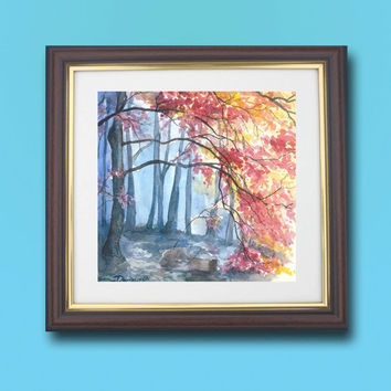 Red Blue Realistic Landscape, Watercolor Painting, Original Colorful Fine Art,  High quality art, Wall &home decor,  Vibrant color art