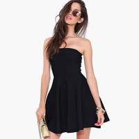 Sexy chest wrapped backless strapless elastic waist Women One-Piece Dress