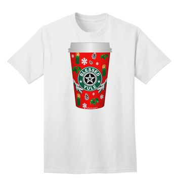 Blessed Yule Red Coffee Cup Adult T-Shirt