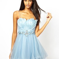 Forever Unique Prom Dress with Feather Bodice