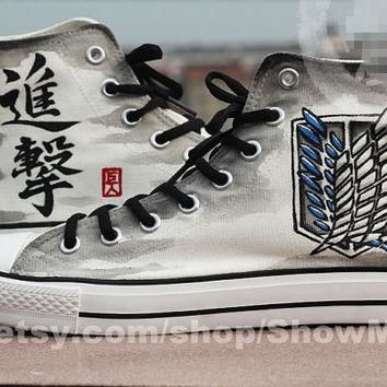 Attack on titan anime Custom Converse, Attack on titan hand painted shoes, Survey Legi