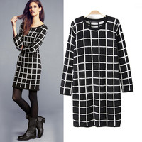Long Sleeve Plaid Knitted Long Pullovers