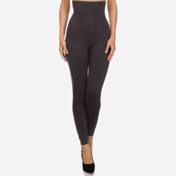 High Waist Compression Leggings in Charcoal, Black and Burgundy