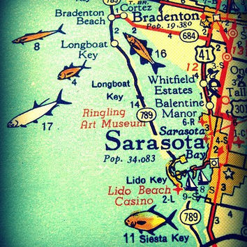 vintage map SARASOTA / SIESTA KEY 1960s Florida art print beach 8x10 orange aqua fish Bradenton Longboat Lido Key vacation coastal decor