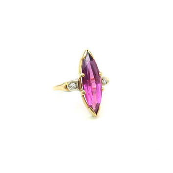 Navette Ruby Ring. Genuine Diamond Accents. 14K Gold Cocktail Ring. Synthetic Gemstone Statement. Vintage Art Deco Jewelry