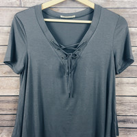 Claudia Lace Up Tee (Charcoal)