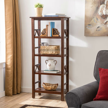 Traditional Display Shelf Bookcase in Antique Tobacco Finish with 4 Shelves
