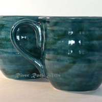 Large Handmade Teal Green  Ceramic Mugs - Set of 2 by RiverRockArts on Zibbet