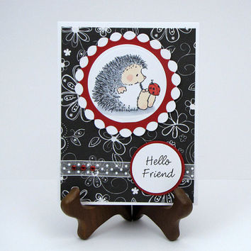 Stamped Hedgehog Card, ladybug, All Occasion, birthday, hello friend, get well, red black and white, handmade greeting card, custom