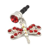 For Apple iPhone 4S 4 Galaxy S Cell Phones & MP3s Silver Dragonfly Red Gems Universal 3.5mm Headpho
