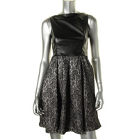 Isaac Mizrahi Womens Faux Leather Lace Cocktail Dress