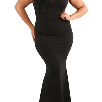 Black Plus Size Sheer Sleeve Column Party Dress