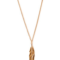 FOREVER 21 Feather and Rhinestone Pendant Necklace Gold One