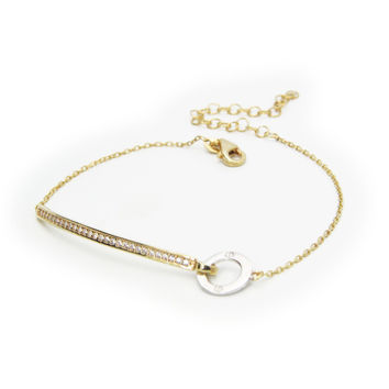 """Fronay Collection Sterling Gold Plated Silver 6.5""""+2"""" Cz Bar Thin Bracelet with Circle"""