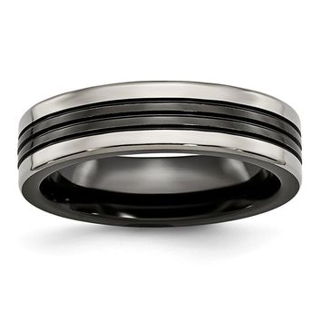 Men's Titanium Black Ti with Grey Edges Grooved and Polished Wedding Band Ring