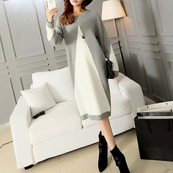 Autumn Winter Dress Women Sweater Gray White Patchwork Long Sleeve Casual Midi Dress Elegant Knit Pullover 2017 Plain vestidos