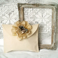 Cream White Cotton Clutch With Champagne Silky Flower Boho Chic Vanilla Purse Linen Clutch Bag Small Ivory Pouch Cocktail Party Wedding