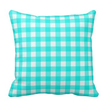 Basic Turquoise Gingham Throw Pillows