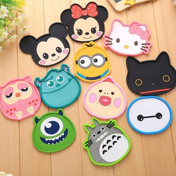 New Silicone Cartoon animal Totoro Hello Kitty Baymax Cup Coaster Nonslip Place Mat pads Cup Cushion Minions Tea Cup Holder