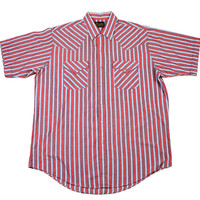 Vintage 90s Plains Western Wear Red Striped Pearl Snap Button Up Shirt Mens Size XL