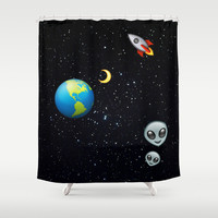 Space Emoji Shower Curtain by GanjWaoW