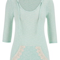 hoodie with stripes and lace