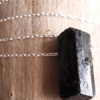Raw Black Tourmaline and Sterling Silver Pendant Necklace - Rough Crystal Necklace - Raw Stone Pendant - Goth Necklace - Schorl Pendant