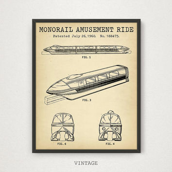 Monorail Ride, Disneyland Amusement Ride Patent Art Printable, Digital Download Blueprint Art, Disney world Poster, Kids Room Decor, Vintage