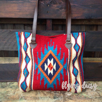 Southwest Mayan Oversized Wool Tote Market Bag
