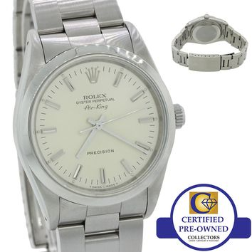 MINT Rolex Oyster Perpetual Air-King Silver 14000M 34mm Precision Watch 14000